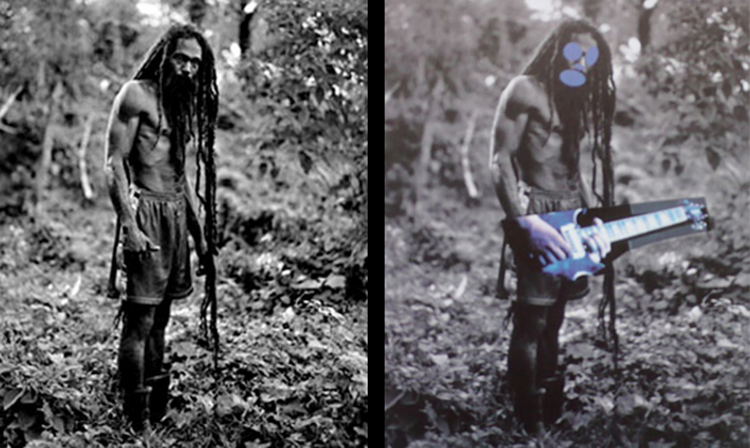 (Left) A photograph from the book «Yes Rasta» Patrick Cariou (Right) A piece of art from the series «Canal Zone» Richard Prince