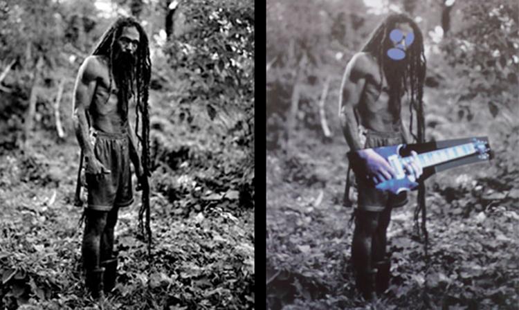 (Слева) Фотография из книги «Да Раста» Патрика Кариу (Справа) Произведение из серии «Зона канала» Ричарда Принса