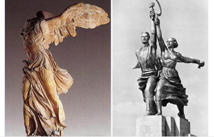 Злева: Ніка Самафракійская; справа: скульптура Веры Мухінай «Рабочы і калгасніца» open source